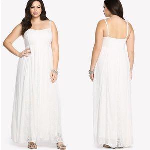Torrid White Lace Panel Gauze Maxi Dress